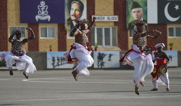 Members of a Sri Lankan culture troupe perform during the multinational exercise AMAN-19 in Karachi, Pakistan, on Feb. 9, 2019. (Rizwan Tabassum/AFP via Getty Images)