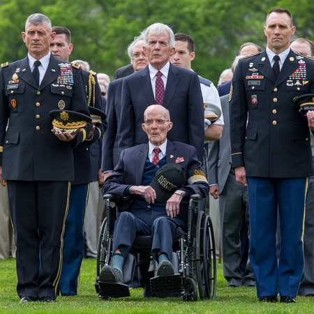 Lt. Gen. Robert Caslen, superintendent of the U.S. Military Academy, joins retired Lt. Gen. William Ely, Ely's son Bill, and Command Sgt. Maj. Timothy Guden during a wreath-laying ceremony on May 23 in West Point, N.Y. (Staff Sgt. Vito T. Bryant/Army)