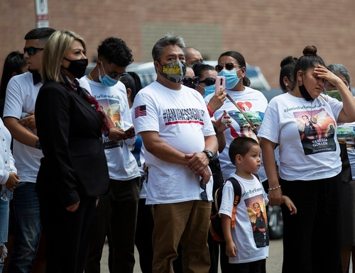 In this Aug. 14, 2020, file photo, Gloria Guillen, right, accompanied by family, arrives to the Cesar Chavez High School to attend a public memorial service for her daughter Army Spc. Vanessa Guillen, in Houston. (Marie D. De Jesús/Houston Chronicle via AP)