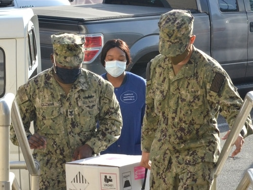 COVID-19 vaccine arrives at Naval Hospital Jacksonville, Florida, on Dec. 15. (Navy)
