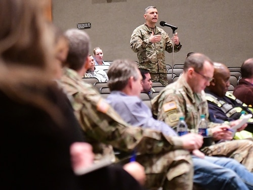 A Fort Knox housing resident discuss concerns brought up during the second listening at Fort Knox's Waybur Theater on March 4, 2019. (Army)