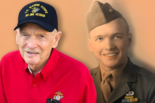 T. Fred Harvey, a World War II veteran who was wounded and earned the Silver Star during the Battle of Iwo Jima, is looking to become the oldest Marine to participate in the Marine Corps Marathon on Sunday. (Photo illustration by Jared Morgan/Staff)