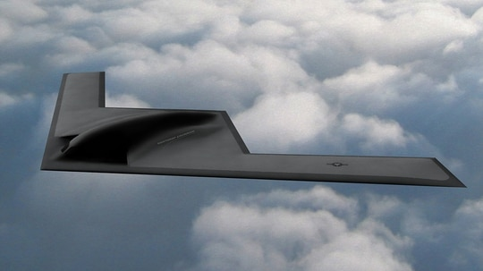 The B-21 Raider stealth bomber will be maintained at Oklahoma's Tinker Air Force Base and tested at Edwards Air Force Base in California. (Northrop Grumman)