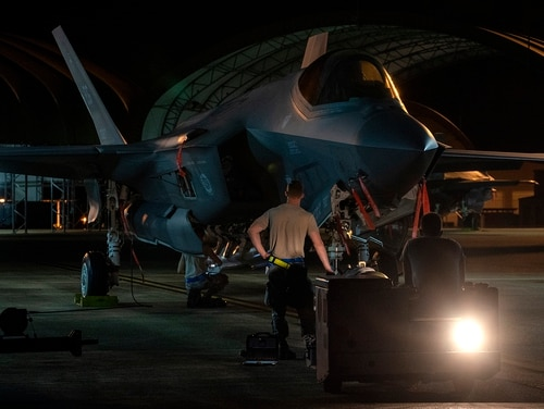 Weapons load crew members with 33rd Aircraft Maintenance Squadron stand in front of an F-35A Lightning II on Aug. 29, 2018, at Eglin Air Force Base, Fla. (Staff Sgt. Peter Thompson/U.S. Air Force)