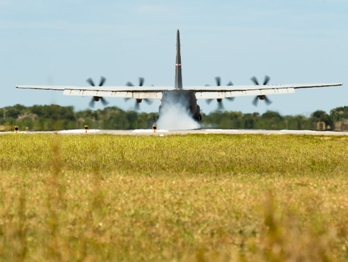 A U.S. Air Force C-130J Super Hercules lands at Camp Simba, Kenya, Aug. 26, 2019. (Staff Sgt. Devin Boyer/Air Force)