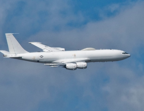 The U.S. Navy Boeing E-6B Mercury is a dual-mission aircraft providing either airborne command, control and communications or serving as an airborne strategic command post equipped with an airborne launch control system capable of launching U.S. land-based intercontinental ballistic missiles. (U.S. Navy)