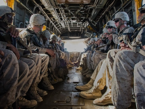 Marines with the 2nd Battalion, 6th Marine Regiment are transported by a CH-53E Super Stallion helicopter near Yuma, Arizona. The Corps will get the first four CH-53K Super Stallion helicopters in 2018 to begin replacing the CH-53E, which has the worst readiness problems of all Marine aircraft. (Cpl. Trever A. Statz/Marine Corps)