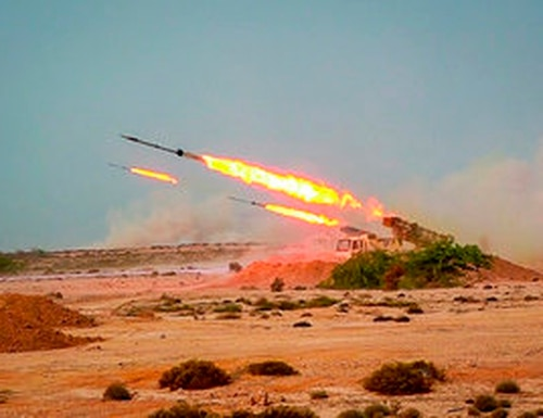 In this photo released Tuesday, July 28, 2020, by Sepahnews, missiles are fired in a Revolutionary Guard military exercise. (Sepahnews via AP)
