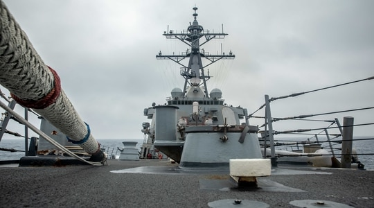The Arleigh Burke-class guided-missile destroyer Curtis Wilbur (DDG 54) conducts routine operations May 18, 2021, in the Taiwan Strait. (MC3 Zenaida Roth/Navy)