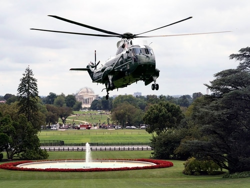Marine One carrying President Donald Trump approaches for a landing on the South Lawn of the White House on Sept, 1, 2019, from Camp David near Thurmont, Md. (Joyce N. Boghosian/White House)