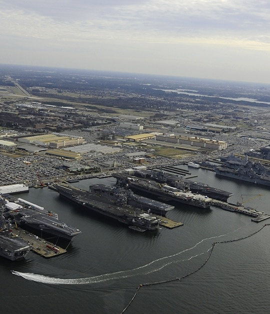 Naval Station Norfolk in Virginia was chosen by the DoD to be a 5G test bed. (MC2 Ernest R. Scott/Navy)