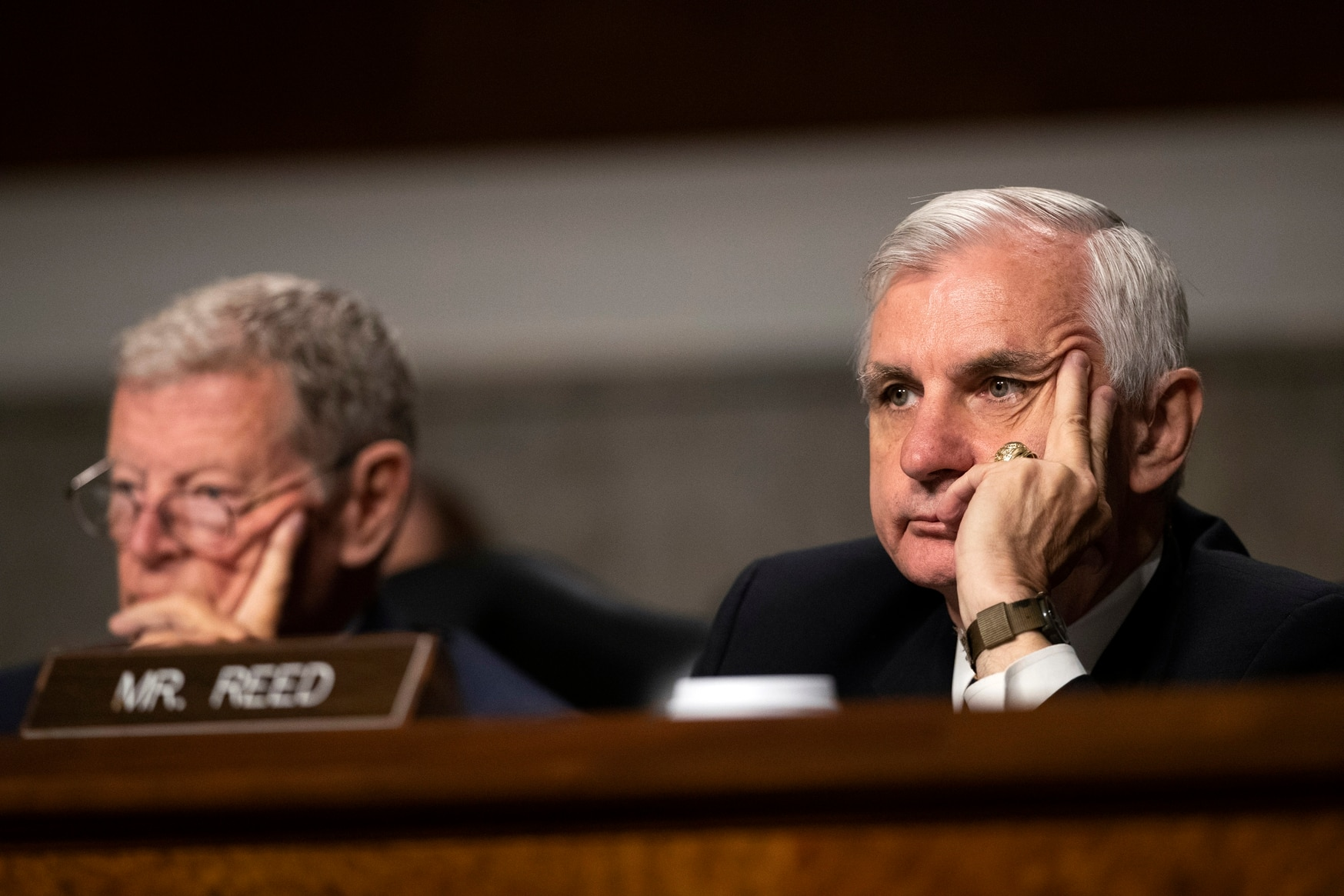 Senate Armed Services Committee Chairman Sen. James Inhofe, R-Okla. (left), and ranking member Sen. Jack Reed, D-R.I., right, listen during a hearing on July 16, 2019. (Manuel Balce Ceneta/AP)