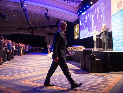Defense Secretary Jim Mattis speaks during the opening ceremony of the AUSA annual meeting at the Walter E. Washington Convention Center in Washington on Oct. 9. (Mike Morones/Army Times)