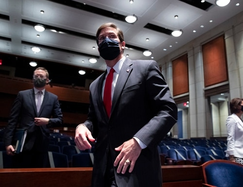 U.S. Defense Secretary Mark Esper leaves after appearing before the House Armed Services Committee on July 9, 2020. (Michael Reynolds-Pool/Getty Images)