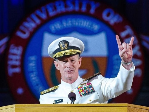 Adm. William H. McRaven delivers the commencement keynote address in 2014 at the University of Texas at Auston. McCraven is best known for having planned and directed the U.S. Joint Special Operations Command aid that led to the death of Osama bin Laden. (Marsha Miller/The University of Texas at Austin via AP)