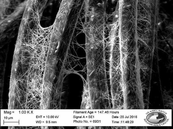 Silver nanowires form an electrically conductive network that when hooked up to a low-power battery can heat up polyester and polypropylene, Army researchers say.