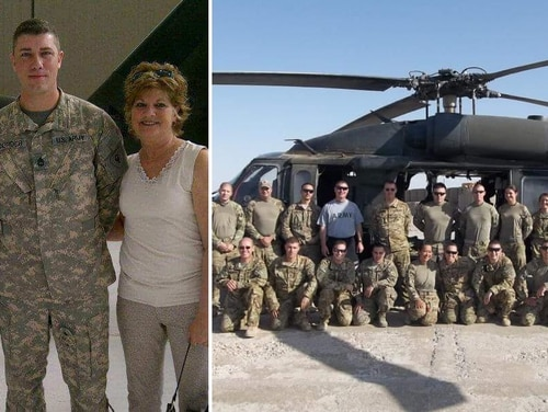 Sgt. 1st Class Cameron Corder poses with his family (left) and with his unit in Afghanistan in 2013. (Courtesy of Sgt. 1st Class Cameron Corder)