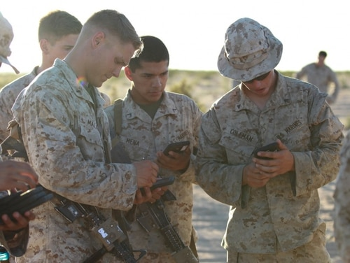 Smartphones are a ubiquitous part of war, and the build-in location services tools of smartphones are an expanding risk in part because of apps service members may have downloaded. (David Staten/Marine Corps)
