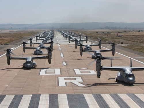 Twenty six MV-22B Ospreys and 14 CH-53E Super Stallions with Marine Aircraft Group 16, 3rd Marine Aircraft Wing, line up as part of the mass flight at Marine Corps Air Station Miramar, California, June 6. (Lance Cpl. Juan Anaya/Marine Corps)