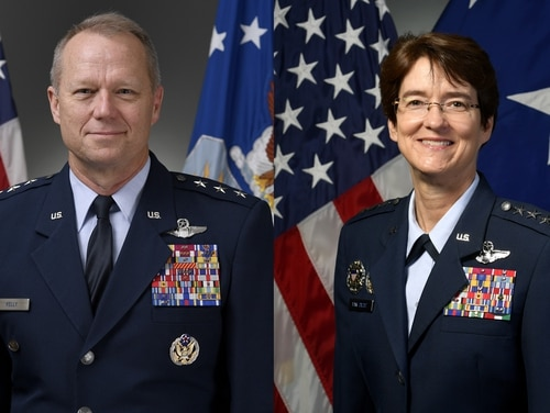 Lt. Gen. Mark Kelly, left, has been nominated to be the head of Air Combat Command, and Lt. Gen. Jacqueline Van Ovost has been nominated to lead Air Mobility Command. If confirmed, both would receive their fourth star. (Air Force)