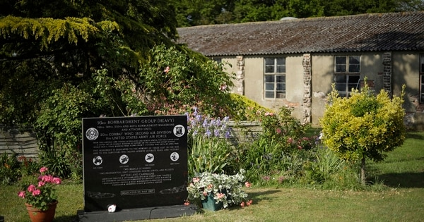 A memorial for the American 93 Bombardment Group (Heavy) stands on the family farm of British D-Day veteran David Woodrow. From 1942 to 1945 more than 2 million American military personnel were stationed in the U.K., and across the country people still commemorate their sacrifice. (Matt Dunham/AP)