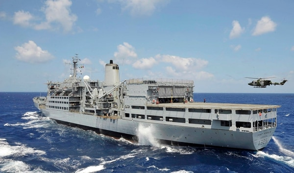 Royal Navy ship HMS Ocean undertook a replenishment at sea with Royal Fleet Auxiliary ship Fort Rosalie, shown. (British Ministry of Defence)