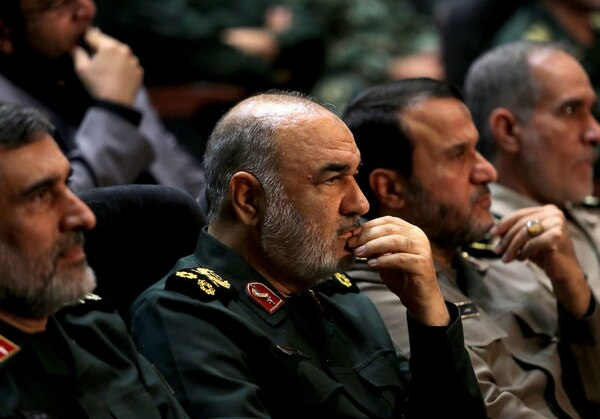 Iranian Revolutionary Guard commander Maj. Gen. Hossein Salami, second left, and Gen. Amir Ali Hajizadeh left, the head of the Revolutionary Guard's aerospace division, are pictured at Tehran's Islamic Revolution and Holy Defense museum on Sept. 21, 2019. (Atta Kenare/AFP via Getty Images)