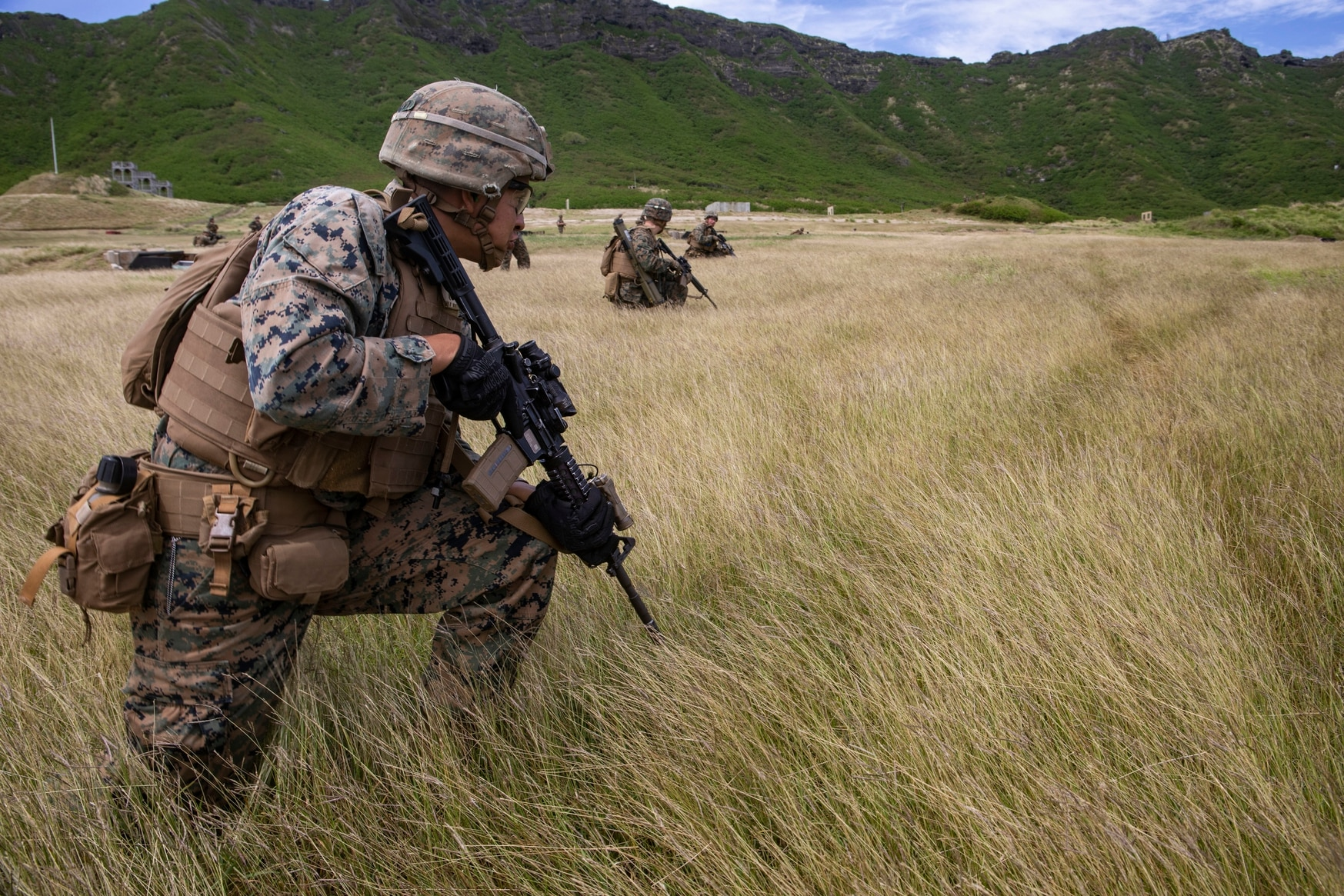Marines with Fox Company, 2nd Battalion, 3rd Marine Regiment, prepare to fire at targets during a squad supported attack at the Kaneohe Bay Range Training Facility, Marine Corps Base Hawaii, Mar. 6. (Sgt. Jesus Sepulveda Torres/Marine Corps)