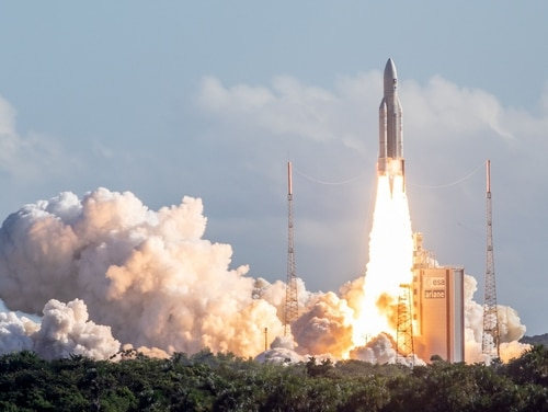 The Ariane 5 rocket, with four Galileo satellites on board, takes off from the launchpad in the European Space Centre on July 25, 2018, in Kourou, French Guiana. (AFP/Getty Images)