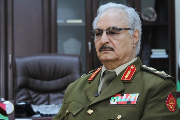 Gen. Khalifa Hifter, Libya's top army chief, speaks during a March 2015 interview with the Associated Press in al-Marj, Libya. (Mohammed El-Sheikhy/AP)