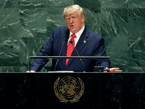 U.S. President Donald Trump addresses the 74th session of the United Nations General Assembly, Tuesday, Sept. 24, 2019. (Richard Drew/AP)