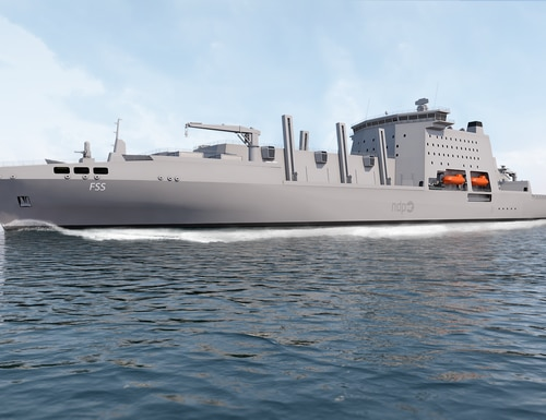 This artist's rendering shows an initial design of the fleet solid support ship, which could change. (British Ministry of Defence)