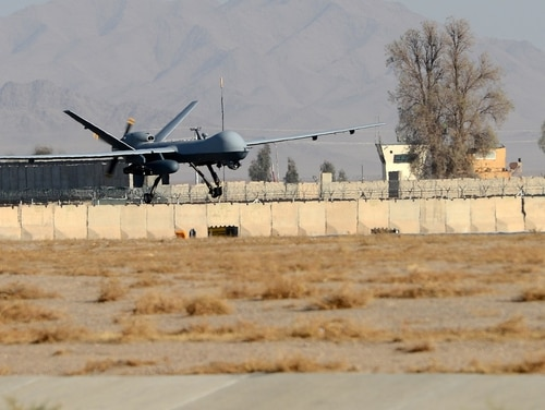 An MQ-9 Reaper lands on the runway at Kandahar Airfield, Afghanistan, on Nov. 27, 2017. The U.S. Air Force has constructed a hangar at Romania's Campia Turzii that could house the platform. (Staff Sgt. Divine Cox/U.S. Air Force)