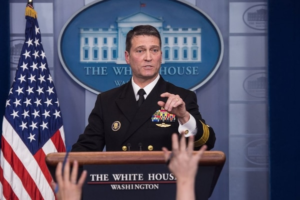 White House physician Rear Adm. Ronny Jackson speaks at the press briefing at the White House in Washington on Jan. 16, 2018. (Nicholas Kamm/AFP via Getty Images)
