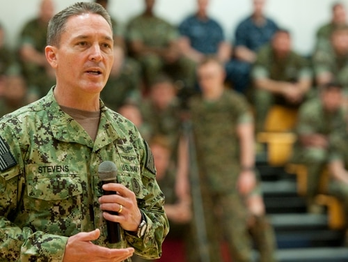 160323-N-OT964-059 CAMP LEJEUNE (March 23, 2016) Master Chief Petty Officer of the Navy (MCPON) Mike Stevens speaks with Sailors during an all hands call as part of his visit to the area. Stevens is on a two-week trip visiting Sailors along the eastern shore, from Norfolk to Key West, Fla., to hear their thoughts and concerns. (U.S. Navy photo by Mass Communication Specialist 1st Class Martin L. Carey/Released)