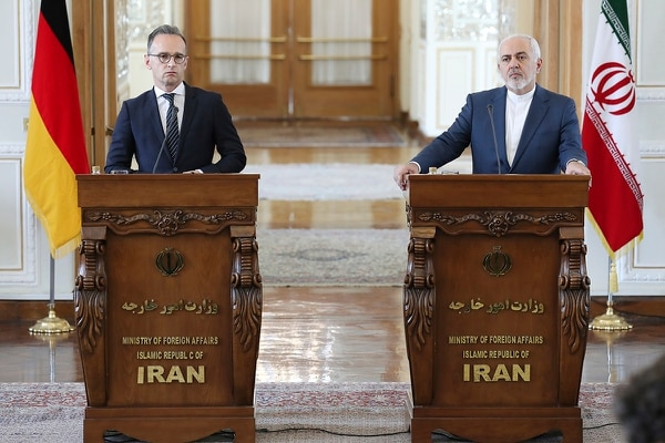 Iranian Foreign Minister Mohammad Javad Zarif, right, and his German counterpart Heiko Maas give a press conference after their talks, in Tehran, Iran, Monday, June 10, 2019. (Ebrahim Noroozi/AP)