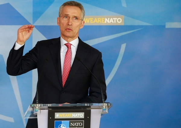 NATO Secretary General Jens Stoltenberg speaks during a media conference at NATO headquarters in Brussels on Tuesday, March 27, 2018. Jens Stoltenberg announced the expulsion of seven Russian staff at the alliance mission and the rejection of three more accreditations, reducing Russia's diplomatic manpower from 30 to 20 at the alliance. (AP)