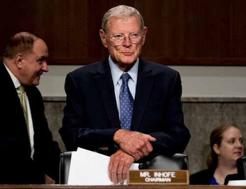 Chairman Sen. Jim Inhofe, R-Okla., arrives for a Senate Armed Services Committee on Capitol Hill in Washington, Wednesday, July 31, 2019. (AP Photo/Andrew Harnik)
