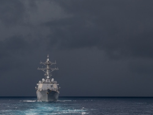 The destroyer Kidd transits the heavily-contested South China Sea. (MC3 Class Kelsey J. Hockenberger/U.S. Navy)