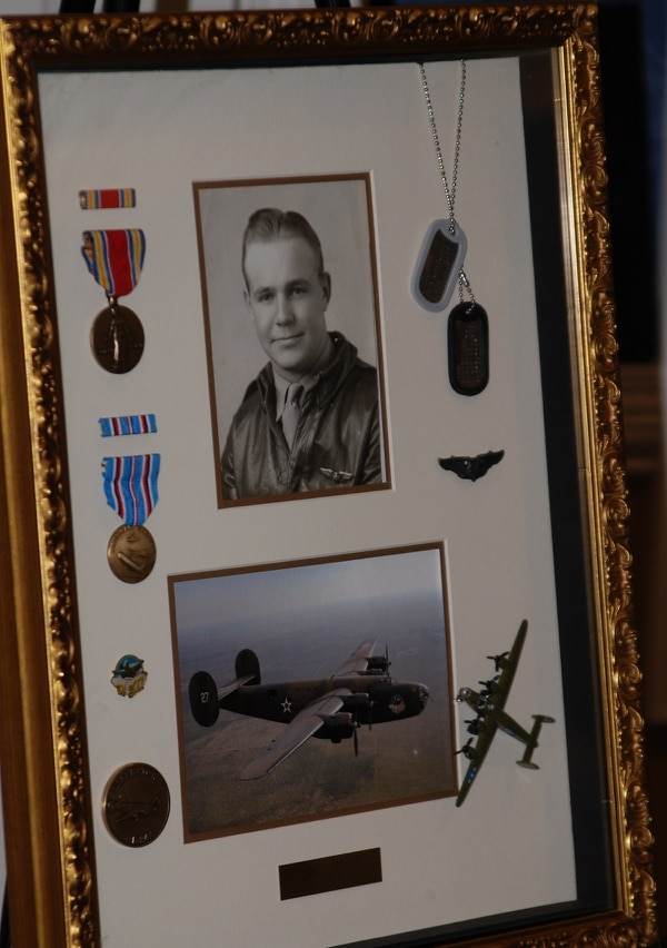 A shadow box of Edward Mims at age 20. Mims was awarded a Purple Heart on Feb. 23, for wounds sustained during WW II. (Courtesy photo via Lynne Schlichting)