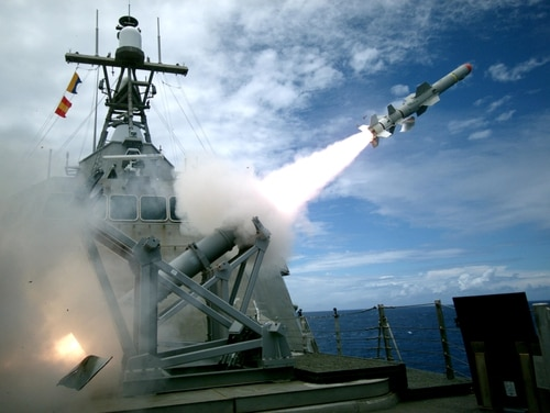 The Independence-variant littoral combat ship Coronado launches the first over-the-horizon missile engagement using a Harpoon Block 1C missile during RIMPAC 2016. (Lt. Bryce Hadley/Navy)