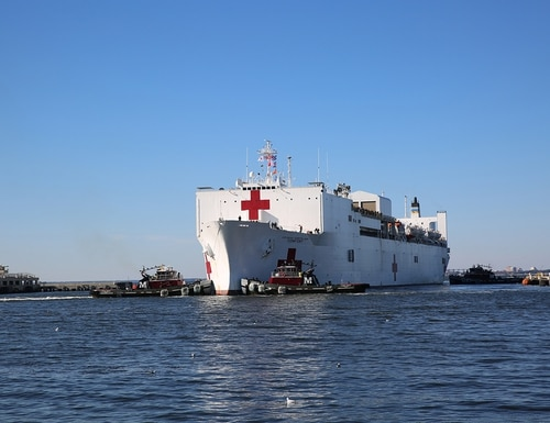 Military Sealift Command's hospital ship USNS Comfort (T-AH 20) pulls into Naval Station Norfolk, Va., on Dec. 18, 2018. Comfort returned to Virginia after completing its 11-week medical support mission to South and Central America, part of U.S. Southern Command's Operation Enduring Promise initiative. (Brian Suriani/Navy)