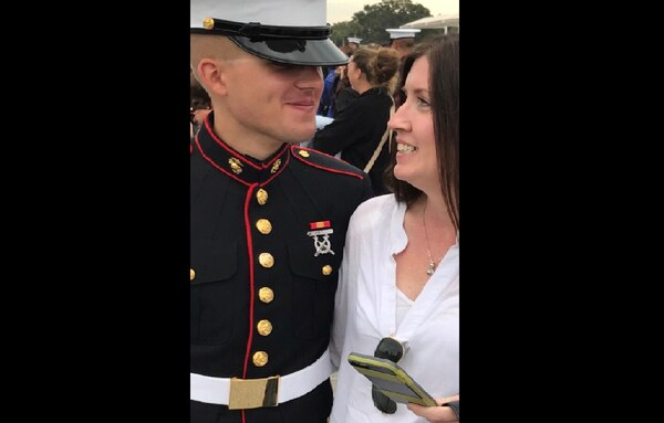 Pfc. Becket Kiernan, at his boot camp graduation with his mother Lynda, died in February 2018 after a bacterial infection went undiagnosed. (Courtesy Lynda Kiernan)