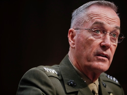 Joint Chiefs Chairman Marine Corps Gen. Joseph Dunford testifies before the Senate Committee on Armed Services on Capitol Hill in Washington, Tuesday, Sept. 26, 2017, to consider his reappointment. (Pablo Martinez Monsivais/AP)