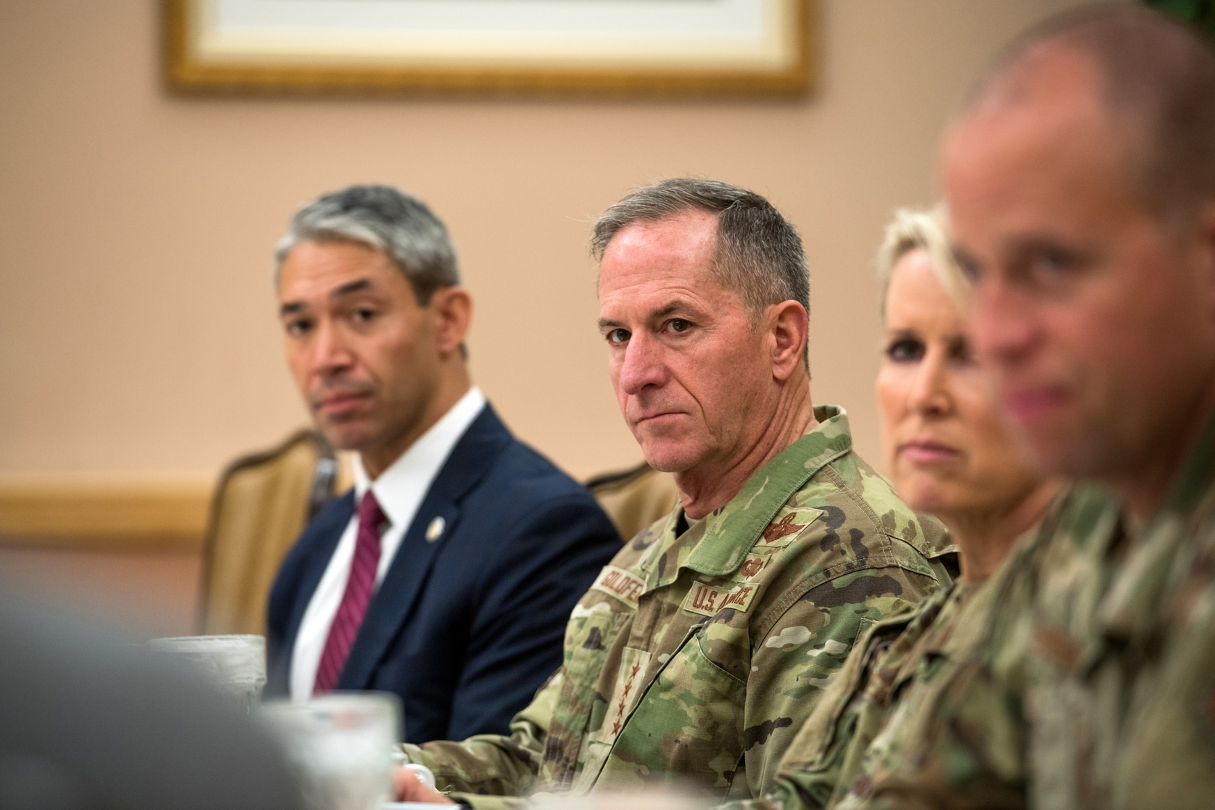 The contrast between the future that former Gen. Goldfein, center, faced and the one that Gen. Brown must now confront is stark. (Sarayuth Pinthong/U.S. Air Force)