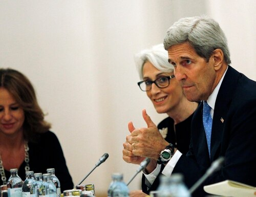 "U.S. Secretary of State John Kerry and U.S. Under Secretary for Political Affairs Wendy Sherman, centre, meet with foreign ministers and representatives of Germany, France, China, Britain, Russia and the European Union during the current round of nuclear talks with Iran, being held in Vienna, Austria July 10, 2015. U.S. Secretary of State John Kerry urged Iran to make the ""tough political decisions"" needed to reach an agreement but Iranian Foreign Minister Mohammad Javad Zarif accused major powers on Friday of backtracking on previous pledges and throwing up new"
