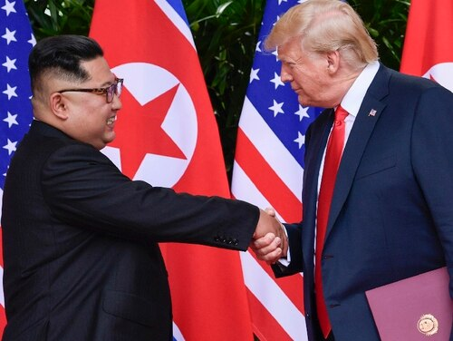 North Korea leader Kim Jong Un, left, and U.S. President Donald Trump conclude their meetings in June in Singapore. U.S. analysts say they have located more than half of an estimated 20 secret North Korean missile development facilities, and the findings come as the Trump administration's denuclearization talks with the North appear to have stalled. The findings also highlight the challenge the U.S. faces in ensuring that North Korea complies with any eventual agreement that covers its nuclear and missile programs. (Susan Walsh/Associated Press)