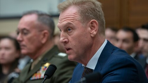 Acting Defense Secretary Patrick Shanahan, joined at left by Chairman of the Joint Chiefs of Staff Gen. Joseph Dunford, testifies at a House Armed Services Committee hearing on the fiscal 2020 Pentagon budget on March 26, 2019. (J. Scott Applewhite/AP)