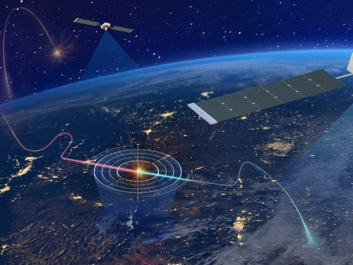 Concept art from Northrop Grumman shows a potential architecture for using satellites to track hypersonic missiles. (Northrop Grumman)