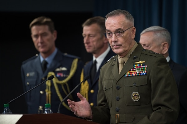 Chairman of the Joint Chiefs of Staff Gen. Joe Dunford, explains the U.S. role in joint airstrikes with the United Kingdom and France against Syria during a Apr. 13 press conference. (U.S. Army Sgt. Amber I. Smith/Defense Department)